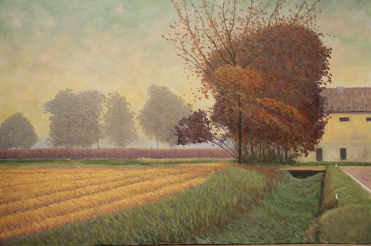 MARIO CORRIERI Il respiro della natura - Enterprise Hotel Milano Passeggiata d'autunno, olio su tela cm 150x100 anno, 2012