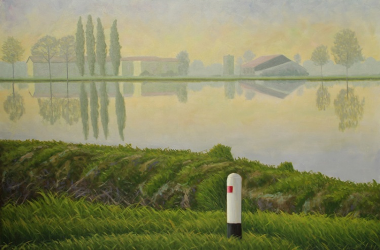 MARIO CORRIERI Il respiro della natura - Enterprise Hotel Milano, Risaia al mattino, olio su tela cm 150 x 100 anno, 2012
