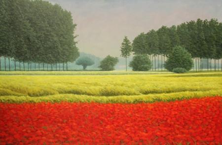 Milano Arte Expo, Mario Corrieri, Il rosso e il giallo della pianura, olio su tela cm 150x100, anno 2012
