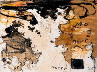 Piero Pizzi Cannella, Mappa del Mondo, 2012, tecnica mista su tela, cm 60 x 80 - Galleria Mucciaccia Roma