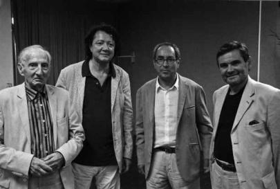 Eugenio Carmi, Claudio Cerritelli, Tullio Pericoli et Claudio Spadoni lors du Prix de Marina di Ravenne, 2008
