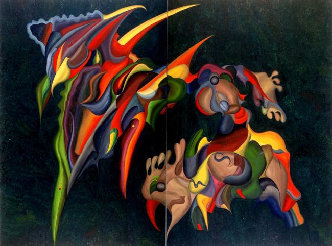 Spazio Tadini Milano arte , Goffredo Radicati, L'aquilone, olio su tela 160×120