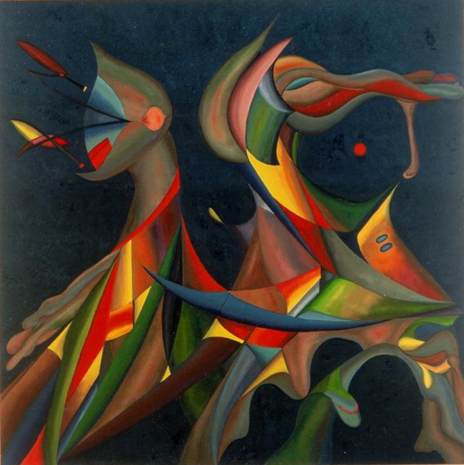 Spazio Tadini Milano,  Goffredo Radicati, Le coppie, olio su tela 100×100