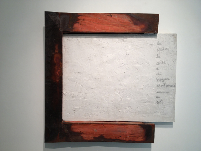 Alessandro Bergonzoni , BIANCO LAVAGNA, 2012, LAMIERA, CEMENTO, 125 x 121 x 12 cm