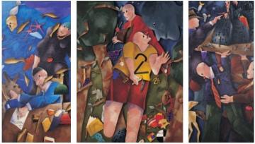 Emilio Tadini, Il corridore notturno, 1989, Acrilici su tela, trittico, 200 x 100 – 200 x 150 – 200 x 100 cm