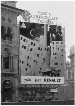 Emilio Tadini - Pannello per Renault in piazza del Duomo a Milano, 1994, Foto di Maria Mulas