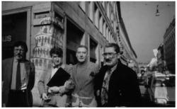 Gianfranco Pardi, Valerio Adami, Emilio Tadini e Giorgio Marconi a Milano, 1985, Foto di Maria Mulas