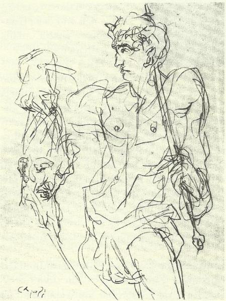 Davide e Golia, 1939, olio su carta. Roma, collezione privata, C. Cagli