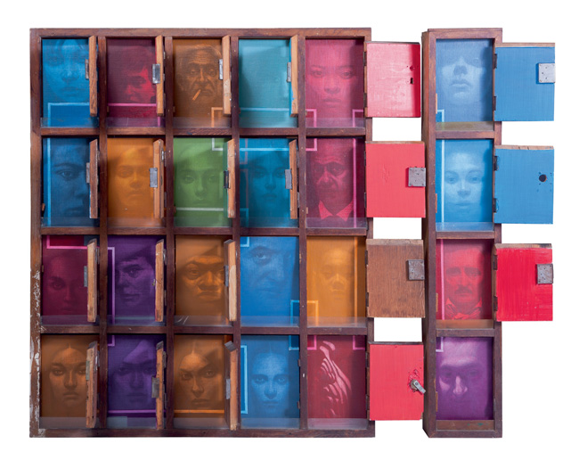 Sasa Marjanovic, facebook, 2012, wood, mixed media, 120 x 140 x 11 cm, Courtesy Genius Art International