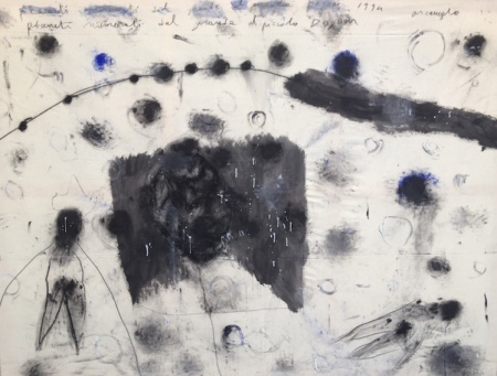 Arcangelo, pianeti numerati dal grande al piccolo Dogon, 1994 - tecnica mista su tela cm 170x220