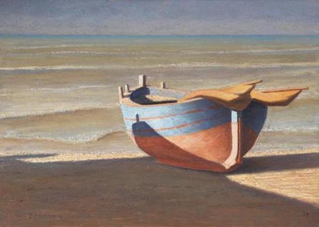 Milano Expo - Walter Lazzaro, Barca e mareggiata,1979,olio su tela,cm 50x70