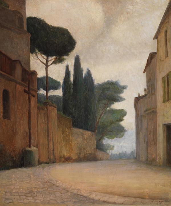 Milano Expo - Walter Lazzaro, Una via di Castelgandolfo,1934, olio su tavola,cm 68x57