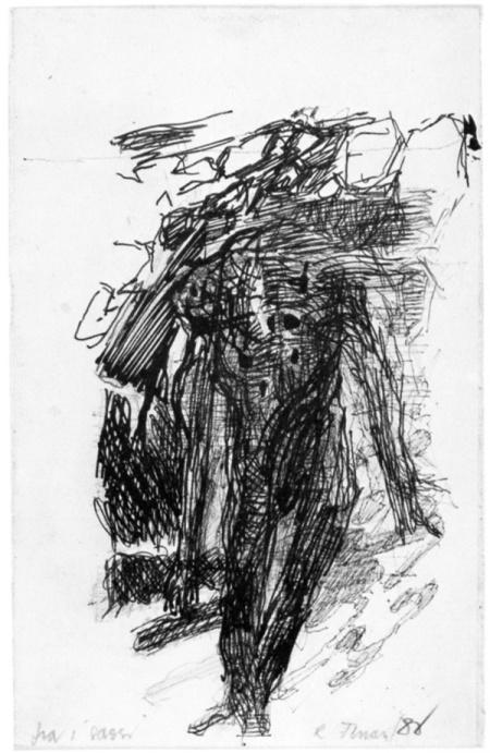 Renzo Ferrari, Fra i sassi, 1980, inchiostro, cm 14x22