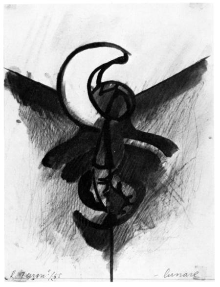 Renzo Ferrari, Lunare, 1965, tecnica mista, cm 20,5x28,2