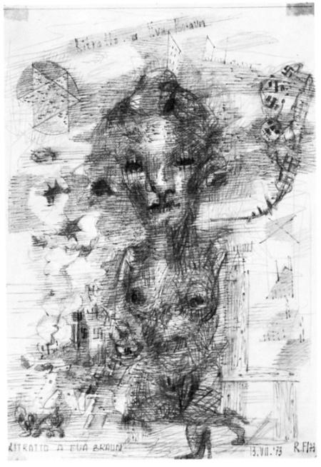 Renzo Ferrari, Ritratto a Eva Braun, 1973, grafite, cm 21x29,7