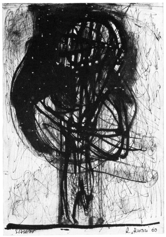 Renzo Ferrari, Sospeso, 1960, inchiostro, cm 14,3x20,8