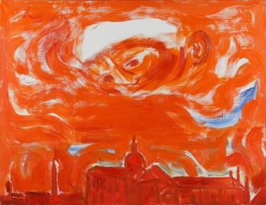 Virgilio Guidi, Apparizione, 1976, olio su tela, 90x120, Villa Contarini, Piazzola sul Brenta