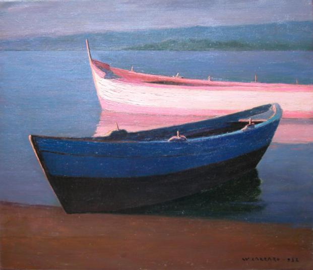 Barche (a Bocca di Magra),1952,olio su tela,cm 60x70