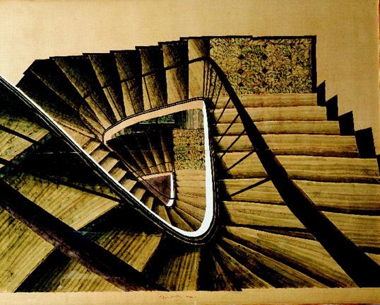 Fondation Pierre Gianadda di Martigny, SAM SZAFRAN 50 anni di pittura,  Escalier Variation I, 2004, acquerello su seta
