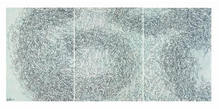 Laura Zeni Il soffio della ballerina, 2013 trittico, acrilico su carta intelata, cm 300x140