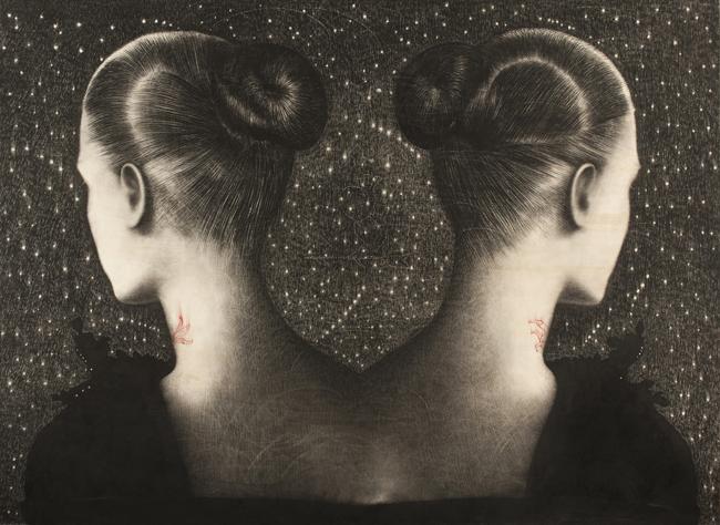 Omar Galliani, Disegno Siamese Liberate gli Angeli, 2013, matita _nera su tavola + pigmenti, cm. 185x252, foto Luca Trascinelli