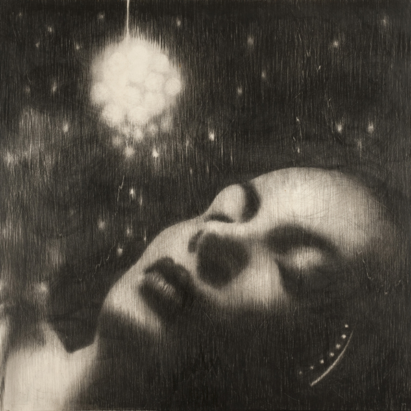 Omar Galliani, Liberate gli angeli, 2013, matita nera su tavola, _cm. 100x100, foto Luca Trascinelli