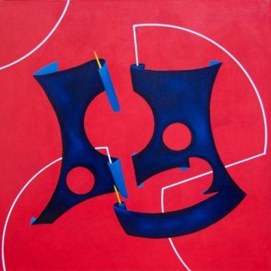 Sara Forte, Istinto primordiale (mondo di animalità)_50 x 50 Olio e acrilico su tela 2013