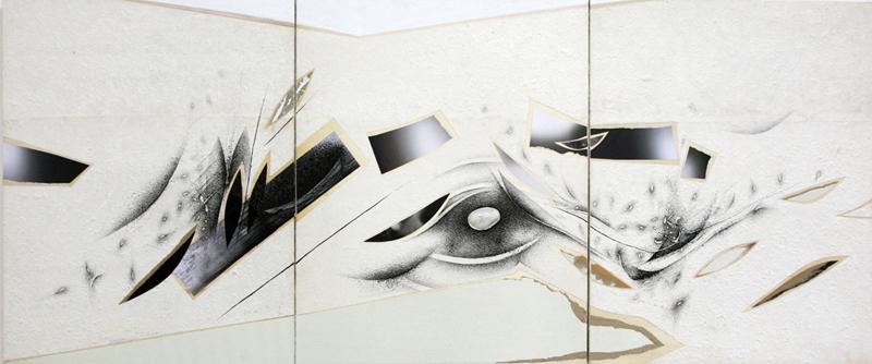 Ernesto Terlizzi -  Sponde tecnica mista su tavola con pietra cm 210x92 2013