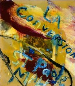 JULIAN SCHNABEL, The Conversion Of St. Paolo Malfi, 1995, Olio, resina, stoffa e stampa su tela, cm 274,3x243,8, Collezione privata
