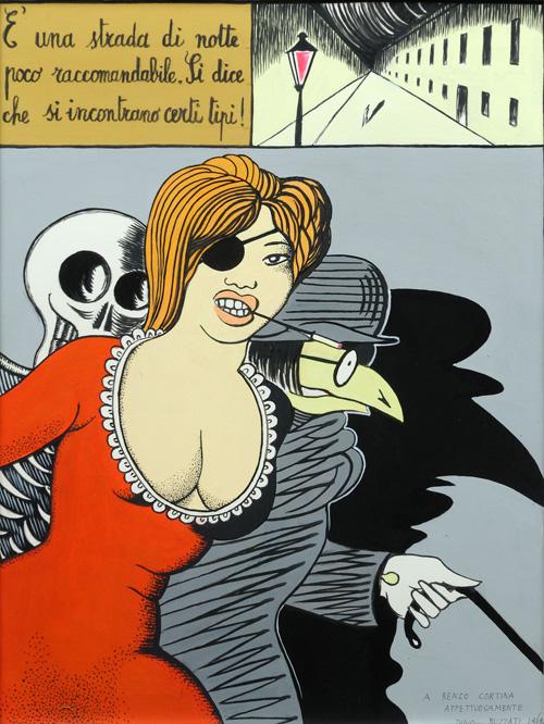 GALLERIA CORTINA ARTE MILANO - Dino Buzzati - È una strada di notte, 1969, acrilico su cartoncino, cm. 54x41