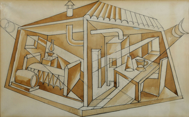 Galleria Cortina Arte Milano - Fortunato Depero - Prismi lunari, 1932 ca., china e china diluita su carta, cm. 60x98
