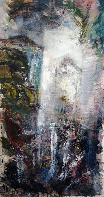 Giovanni Cerri - Torri, 2004, tecnica mista su tela, cm. 120x64