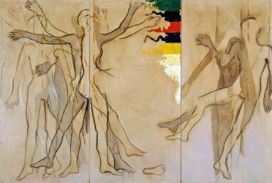 Mario Schifano, Castello Pasquini, Castiglioncello - Corpo in moto e in equilibrio, 1963, Acrilici su tela, 200 x 300 cm (trittico)