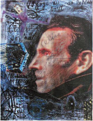 Renzo Ferrari, Ritratto di Céline, 2011, Collage e grafite su carta, 295 x210mm