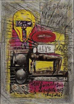 Spazio Tadini - Renzo Ferrari, Che sarà, che sarà…di questa arte, che sarà…, 2012, Acquerello e collage su carta, 295   210mm