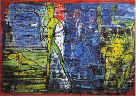 Spazio Tadini - Renzo Ferrari, Visitatrici del blu, 2000, Olio su tela, 71 _ 100 cm, Milano, collezione privata