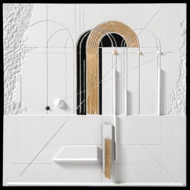 Walter Valentini - LA PORTA DELLA LUCE 3, 2012, tecnica mista su gesso, 50x50 cm