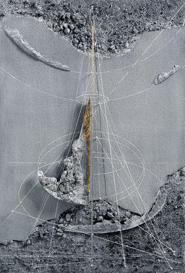 Walter Valentini - NASCITA, 1998, tecnica mista su tavola, 88x60 cm