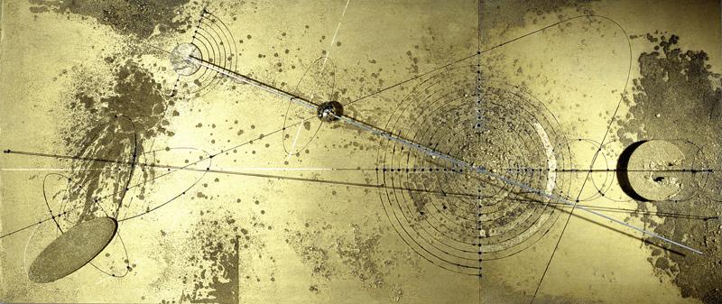 Walter Valentini - SOLARE, 2001, tecnica mista su tavola, 80x190 cm