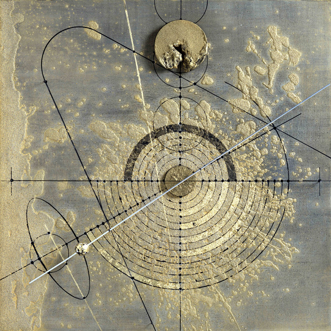 Walter Valentini - SOLARE, 2001, tecnica mista su tavola, 99x99 cm