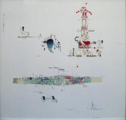 Gianfranco Baruchello, Teorico-pratica linguaggio e comportamenti, 1977, tecnica mista su  alluminio, cm 50x50