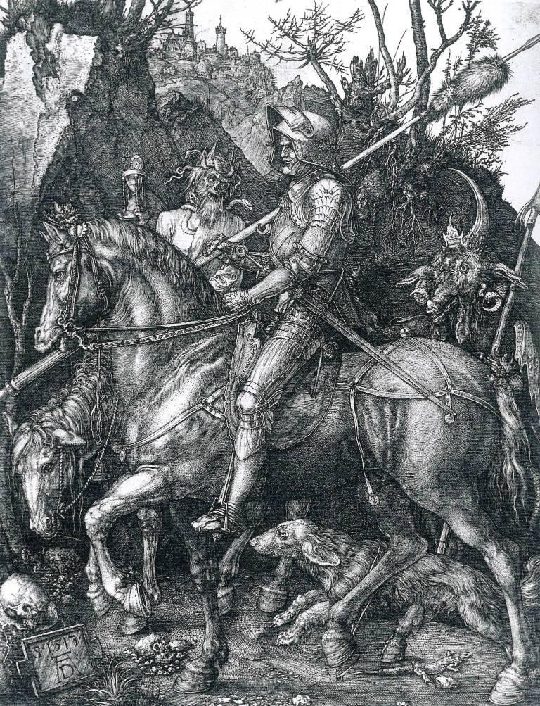 Albrecht Durer, Il Cavaliere, la Morte e il Diavolo, 1513, bulino, 246 x 188 mm