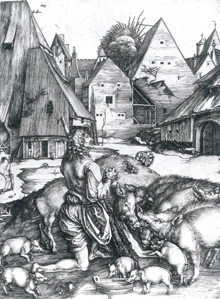 Albrecht Durer, Il figliol prodigo, c. 1496, bulino, 245 x 190 mm