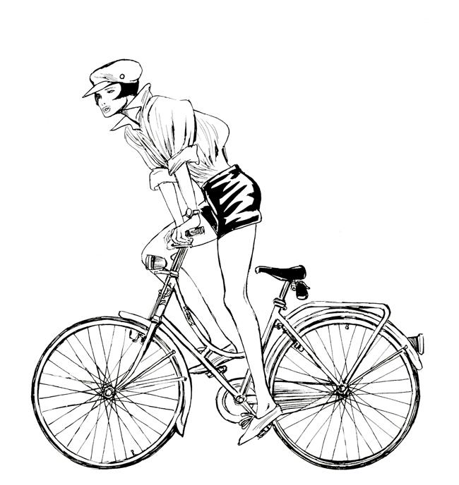 Guido Crepax,  ritratto di un artista -  Palazzo Reale di Milano - Valentina in bicicletta
