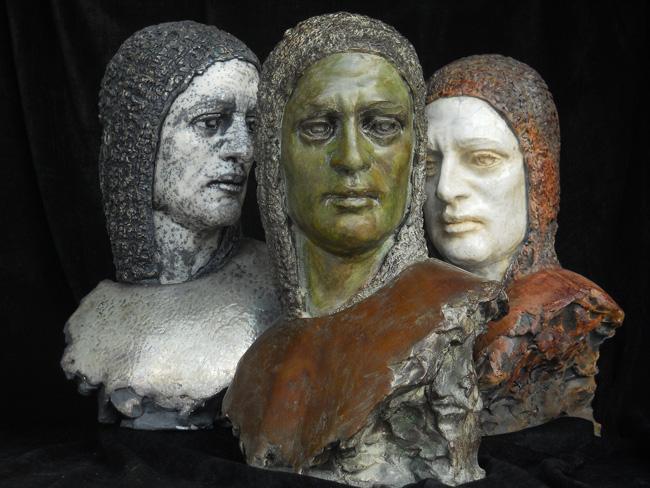 Marco MARIUCCI - 'Trittico San Francesco' - ceramica raku e bronzo -  2012
