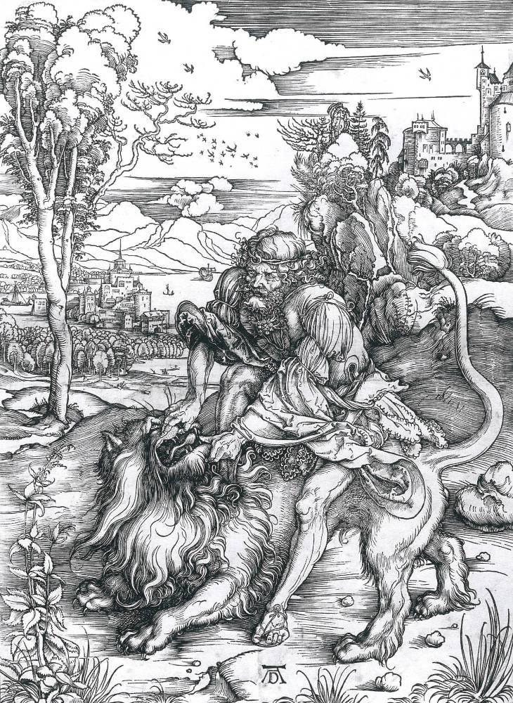 Museo della Permanente DÜRER L'OPERA INCISA DALLA COLLEZIONE DI NOVARA - Albrecht Durer, Sansone uccide il leone, c. 1496, silografia, mm 386 x 281