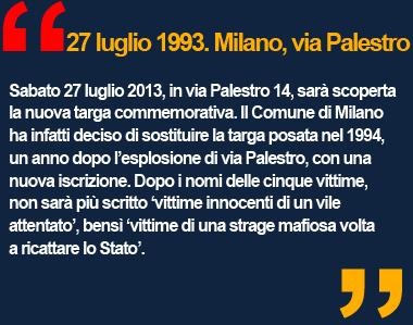 Strage di via Palestro, Milano, commemorazione