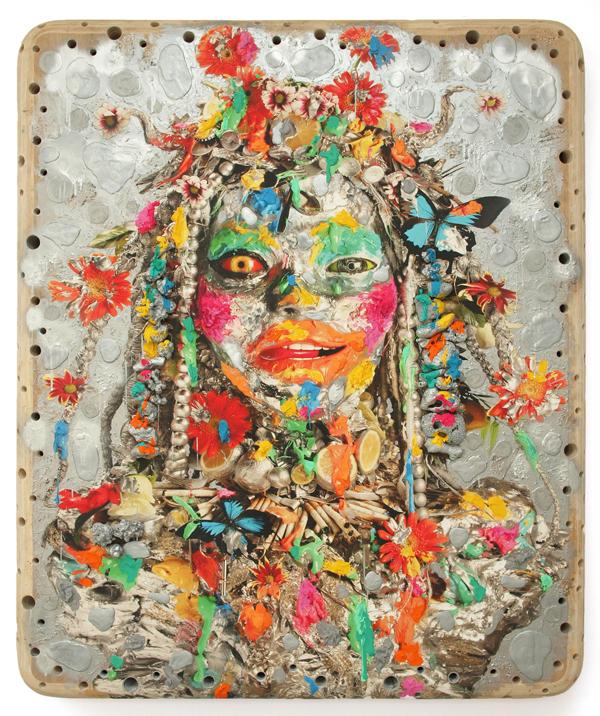 Ashley Bickerton, Silver Head I, 2012, olio, acrilico, corallo e oggetti recuperati su stampa digitale su compensato, cm 228.3x190.5x17.8