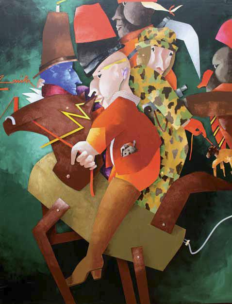 Emilio Tadini, Fiaba, 1998, Acrilici su tela, cm 146x114