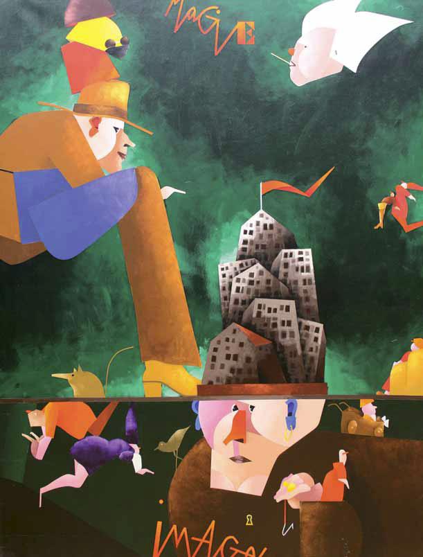 Emilio Tadini, Fiaba, 2000, Acrilici su tela, cm 61x50